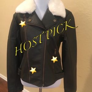 French Connection fauxfur faux leather Moto jacket